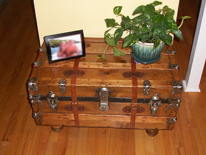 Antique trunk from Connies Trunks makes a nice display area