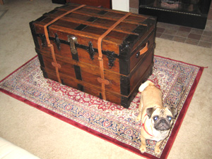 Antique trunk makes a beautiful addition to this living room