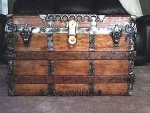 Antique trunk makes a nice rest