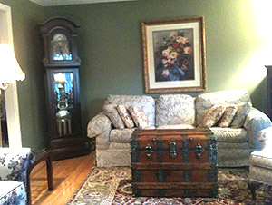 Antique trunk in customer living room