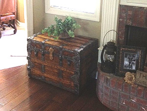 Antique trunk makes a nice night stand