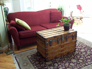 Antique trunk makes a nice living room center piece