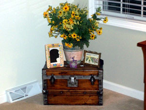 Antique trunk used as a table in the living area