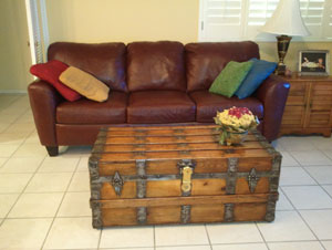 Antique trunk used as table in the living area