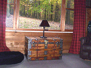 Antique trunk makes a nice addition to cabin decor