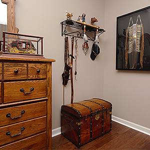 Antique trunk from Connies Trunks makes a nice addition to this room
