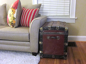 Antique trunk makes a nice addition to living space