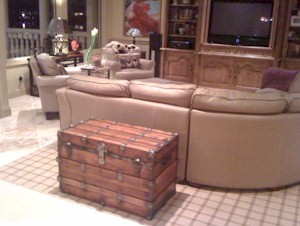 Antique trunk makes a nice living room addition