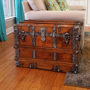 Antique trunk makes a nice addition to this home